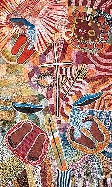 Jesus washes feet - Aboriginal art author unknown