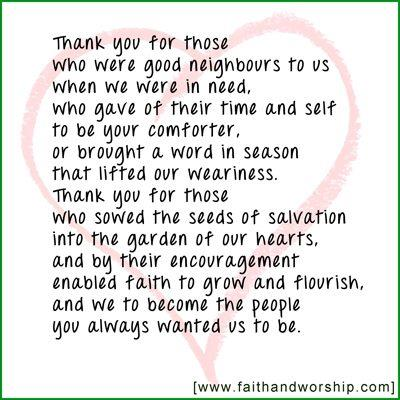 Thank you for those who are good neighbours to us - John Birch