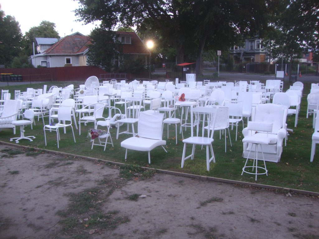 185 empty chairs http://commons.wikimedia.org/wiki/File%3A185_Empty_Chairs_77.JPG