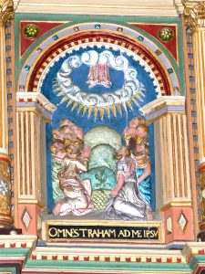 """Ribe Cathedral. Pulpit ( 1597 ): Ascension of Christ with the latin inscription """"Omnes traham ad me ipsum"""" ( All people I will draw to myself ) via wikimedia"""