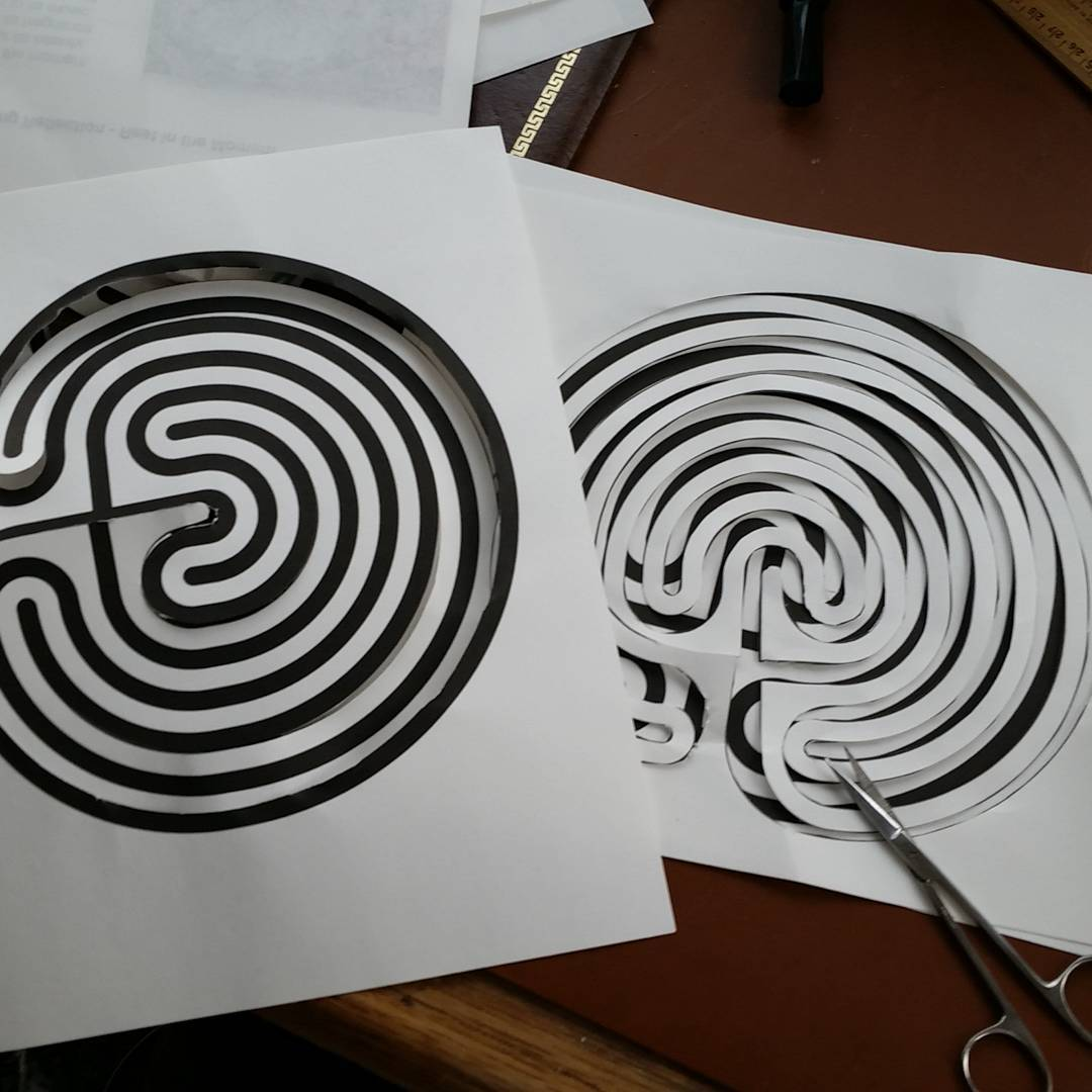 cutting out labyrinth templates