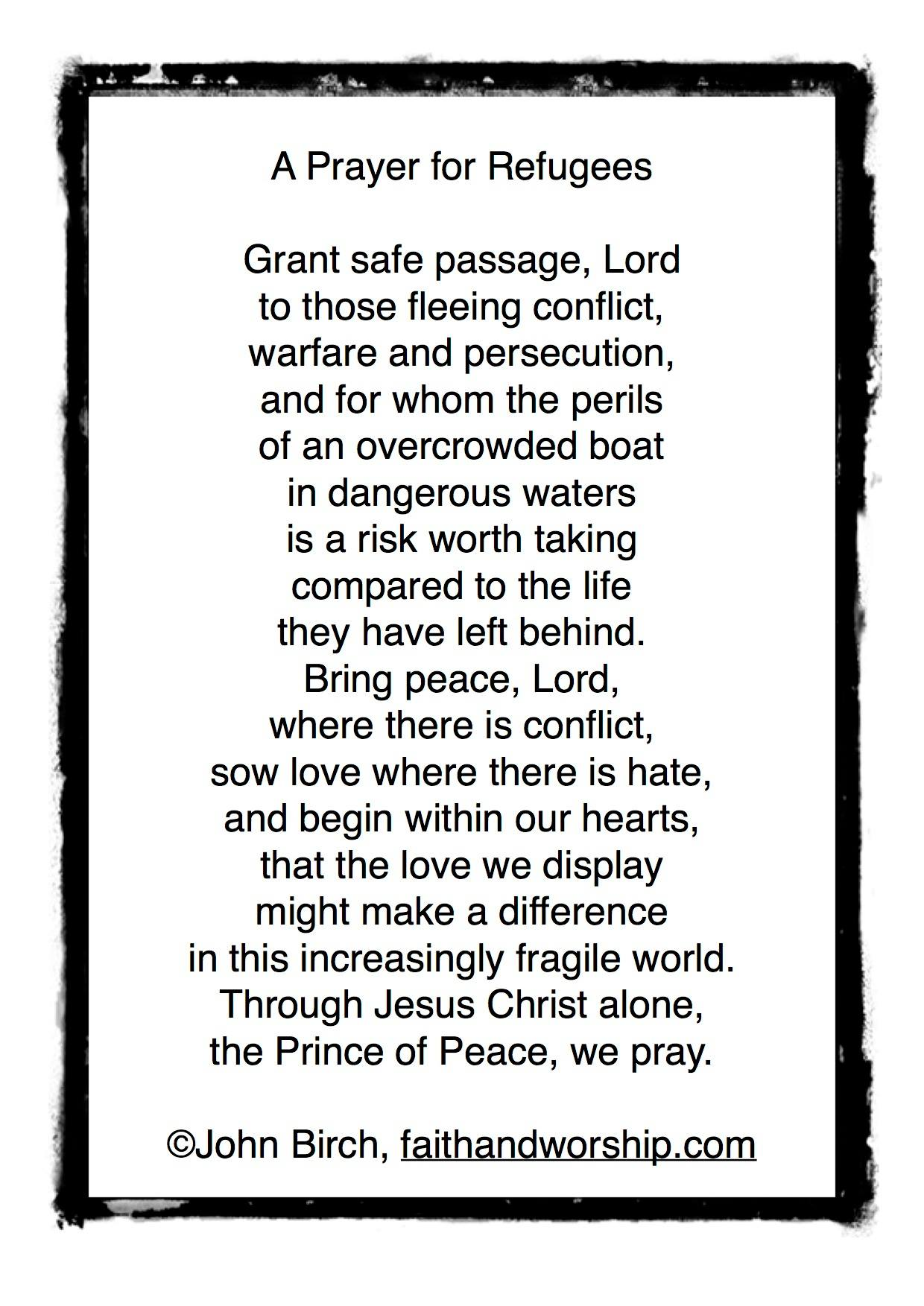 A prayer for refugees