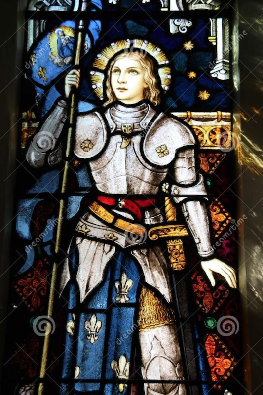 Stained glass window of Joan of Arc