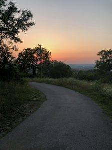 sunset w road